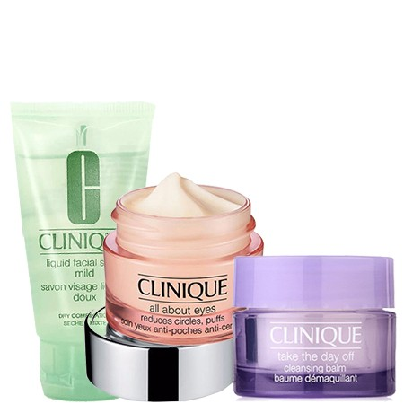 CLINIQUE Clinique Set All About Eyes 7 ml + Take The Day Off Cleansing Balm Baume Demaquillant 15ml + Liquid Facial Soap Mild Dry Combination 30 ml